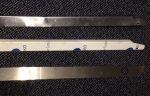 Top: damaged rail, Middle: cut rail ready for install, Bottom: trimmed excess.